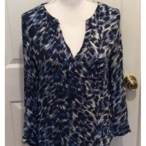 Joie Blouse S Blue Black White Brown Abstract